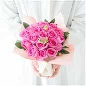20本バラのスタンディングブーケ ピンク系 花瓶いらずの花束 生花 フラワーギフト 送料無料