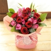 20本バラのスタンディングブーケ ピンクレッド系 花瓶いらずの花束 生花 フラワーギフト 送料無料