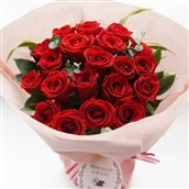 20本バラのスタンディングブーケ レッド系 花瓶いらずの花束 生花 フラワーギフト 送料無料