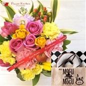 花とスイーツのセット バラのアレンジメント(ピンクイエロー系のミックス) と スイーツギフトカタログ「スイートもぐもぐ-オ・レ-」 のセット フラワーギフト 送料無料