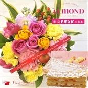 花とスイーツのセット バラのアレンジメント(ピンクイエロー系のミックス) と 六本木アマンド チーズミルフィーユ のセット フラワーギフト 送料無料