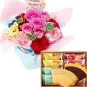 母の日ギフト 花とスイーツのセット 母の日バラアレンジ&ハート型はちみつカステラ 5月6-10日の期間でお届け 生花 フラワーギフト 送料無料 FKHH 【2020母の日】