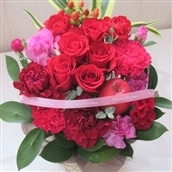 バラのアレンジメント レッド系 籠花 生花 フラワーギフト 送料無料 誕生日 記念日 お祝い お花